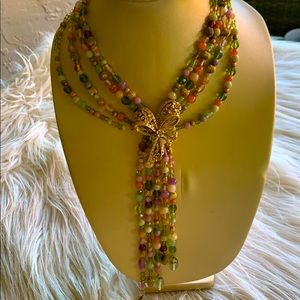 Vintage Semiprecious with gold bow necklace  NEW